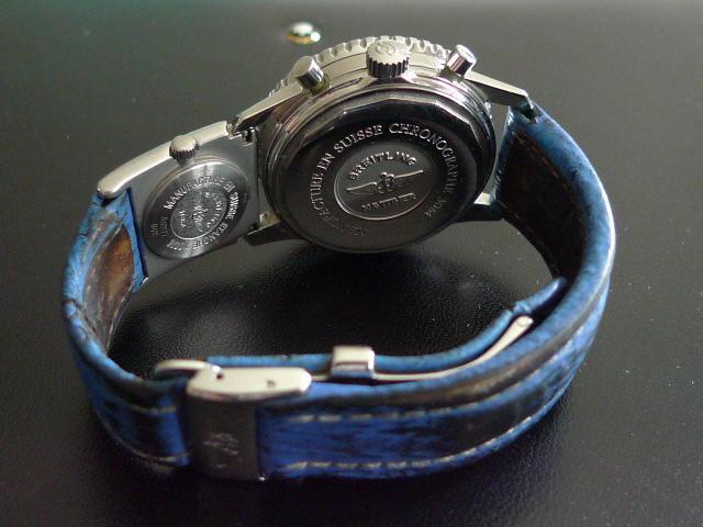 bracelet cuir bleu breitling